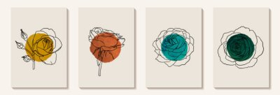 Fototapete Creative minimalist hand painted Abstract art background with watercolor stain circle and Hand Drawn doodle rose outline. Design for wall decoration, postcard, poster or brochure