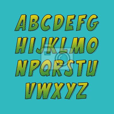 Creative Schriftart. Vector Alphabet Sammlung im Stil der Comics und Pop-Art gesetzt. Lustige bunte Buchstaben zur Dekoration von Kinder Illustrationen, Websites, Plakate, Comics und Banner.