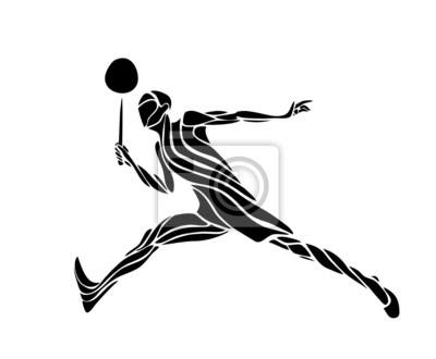Creative-Silhouette eines Badmintonspieler