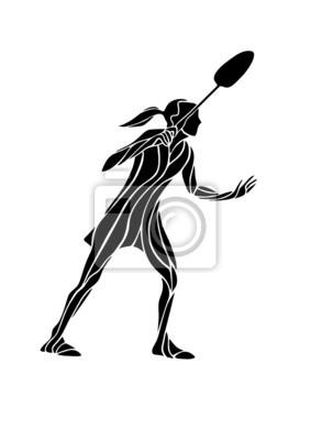 Creative-Silhouette weibliche Badmintonspieler