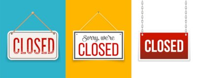 Fototapete Creative vector illustration sign - sorry we are closed background. Art design closed banner on door store template. Signboard with a rope. Abstract concept for businesses, site, shop services element