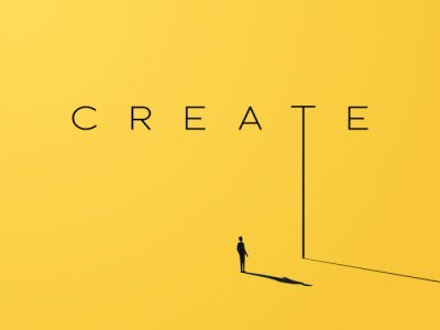 Fototapete Creativity vector concept with creative typography and design with businessman looking to grow, climb up. Symbol of creative solutions, innovation, inspiration, new ideas.