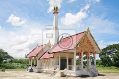 Crematorium with cloud and blue sky background in Thailand.