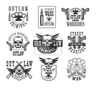 Criminal outlaw street club schwarz-weiß-zeichen design-vorlagen ...