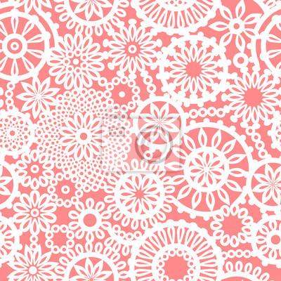Crochet kreis ornament blumen rosa und weiß nahtlose muster ...