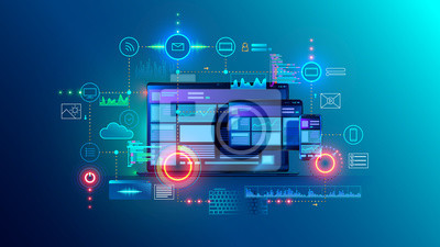 Fototapete Cross platform website, app design development on laptop, phone, tablet. Technology of create software, code of mobile applications. Programming responsive layout of graphic interface, ui, ux concept.