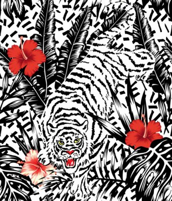 Fototapete Crouching Tiger, hibiscus and tropical leaves pattern