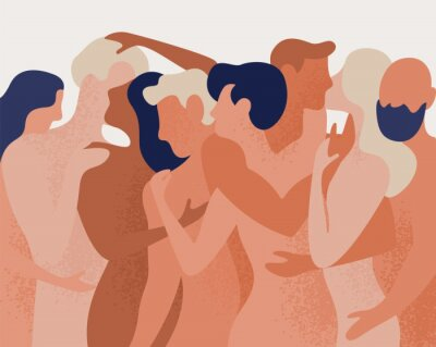 Fototapete Crowd of naked men and women hugging and kissing. Concept of polygamy, polyamory, open intimate romantic and sexual relationship, free love. Colorful vector illustration in flat cartoon style.