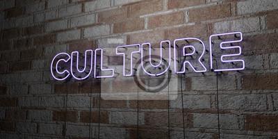Fototapete CULTURE - Glowing Neon Anmelden auf stonework Wand - 3D gerendert lizenzfreie stock Illustrationen. Kann für Online-Bannerwerbung und Direktwerbung verwendet werden ..