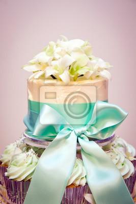 Cupcake Hochzeitstorte Und Bander Fototapete Fototapeten