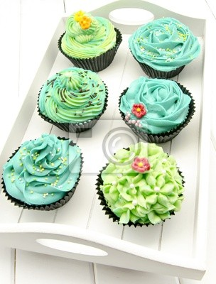 Cupcakes Decorados Con Farbe Verde Y Azul Fototapete Fototapeten