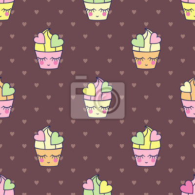 Fototapete Cupcakes sweets seamless pattern child style.
