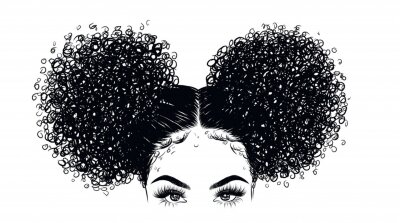 Fototapete Curly beauty girl illustration isolated on clear background. Double buns with long hair. Hand draw idea for business cards, templates, web, brochure, posters, postcards, salon