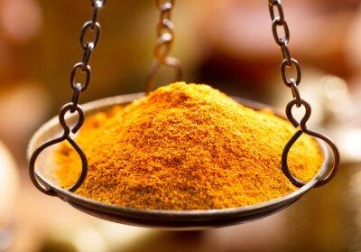 Fototapete Curry Gewürz Pulver in Schüssel Gewichte