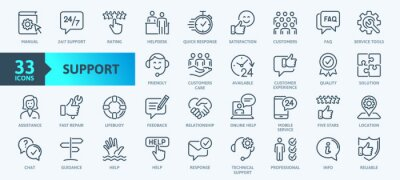 Fototapete Customer Service and Support - Outline Icon Collection. Thin Line Set contains such Icons as Online Help, Helpdesk, Quick Response, Feedback and more. Simple web icons set.
