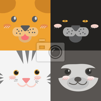 Cute Adorable Square Animals Cartoon Faces Dog Cat Jaguar Tiger