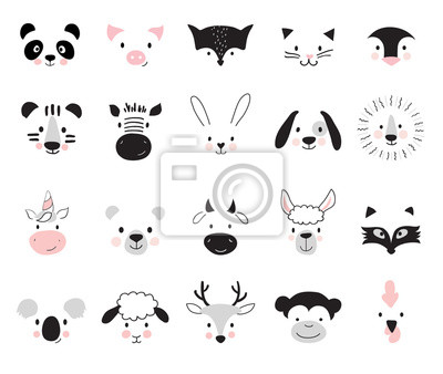 Fototapete Cute animals for kids and baby t-shirts and wear, nursery posters for baby room, greeting cards. Scandinavian style, vector illustration