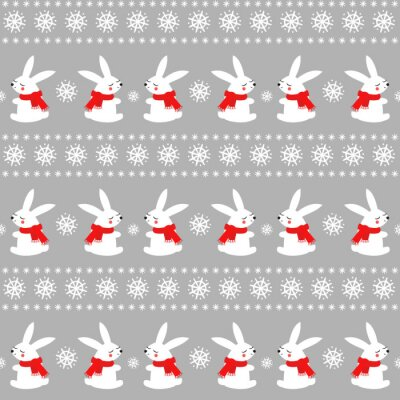 Fototapete Cute baby rabbits with snowflakes seamless pattern on grey background. Winter holidays background. Vector winter design for textile, wrapping paper, fabric, card.