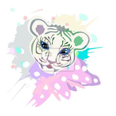 Cute Baby Tiger Porträt, Illustration mit Spritzwasser Aquarell texturierter Hintergrund