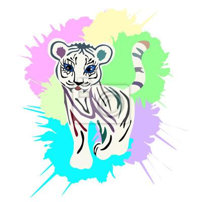 Cute Baby Tiger Porträt, Illustration mit Spritzwasser Aquarell texturierter Hintergrund.
