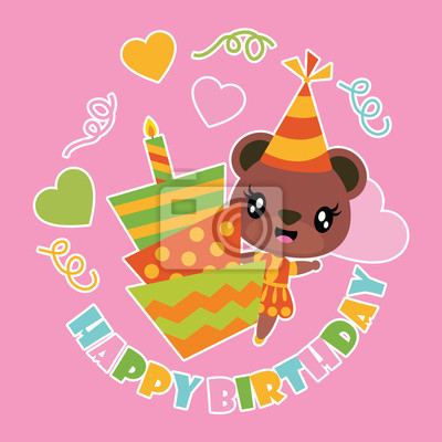 Fototapete Cute Bear Girl And Birthday Cake Vector Cartoon Illustration For Happy Card Design