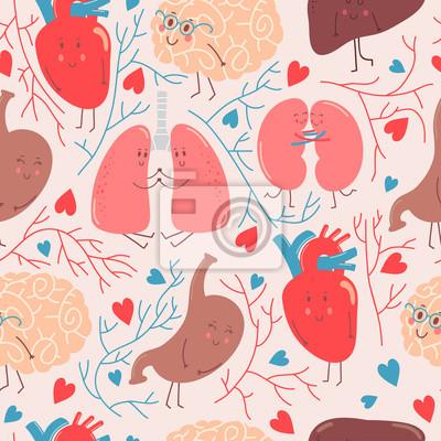 Cute cartoon anatomie vektor-muster mit lustigen organen, herz ...