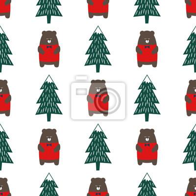 Fototapete Cute Cartoon Bär und Weihnachtsbaum nahtlose Muster. Bunte Wald Hintergrund. Einfache Vektor Winterurlaub Design für Textil-, Tapeten, Geschenkpapier, Stoff, Dekor.