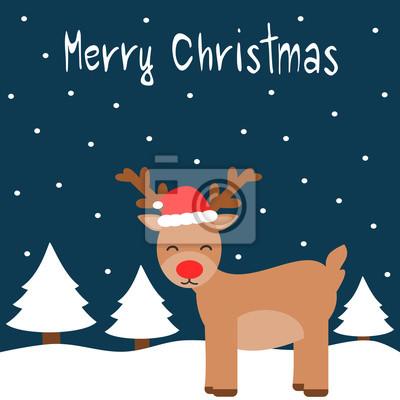 Animation Frohe Weihnachten.Fototapete Cute Cartoon Frohe Weihnachten Vektor Karte Mit Rentier Im Schnee