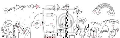 Fototapete cute cartoon sketch animals