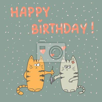 Fototapete Cute Cats In Love Happy Birthday Vector Card