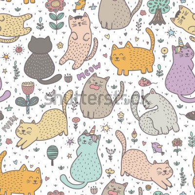 Fototapete Cute cats in the summer seamless pattern. Great for cards, invitations, fabric and textile. Vector illustration
