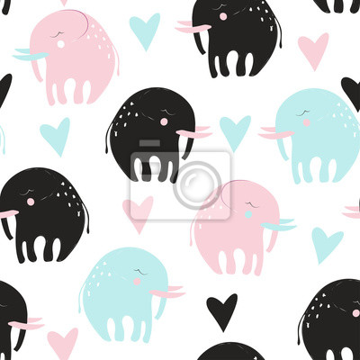 Fototapete Cute childish seamless pattern with elephant. Vector hand drawn illustration.