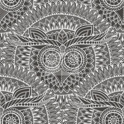 Cute Eulen in Mandala nahtlose Muster. Schwarz-Weiß-Hintergrund. Für Erwachsene ein Kinder Malbuch, Verpackung, Druck, Stoff, Textil. Monochrome vektorabbildung.