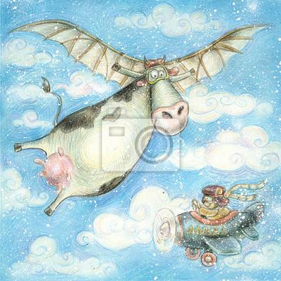 Cute Flying Cowvintage Backgroundchildren Illustration Fototapete