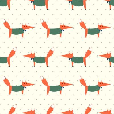 Fototapete Cute fox nahtlose Muster auf Polka Dots Hintergrund. Cartoon foxy vektorabbildung. Kind Zeichnung Stil Tier Hintergrund. Art und Weiseentwurf für Gewebe, Gewebe.
