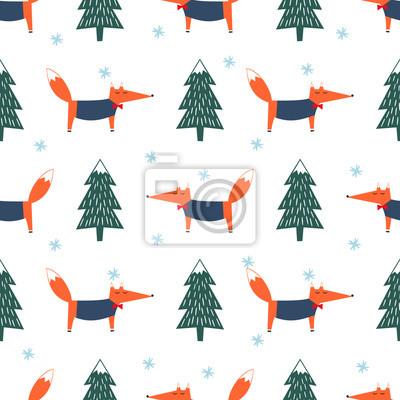 Fototapete Cute Fox, Weihnachten Baum und Schneeflocke nahtlose Muster. Bunte Wald Hintergrund. Einfache Vektor Winterurlaub Design für Textil-, Tapeten, Geschenkpapier, Stoff, Dekor.