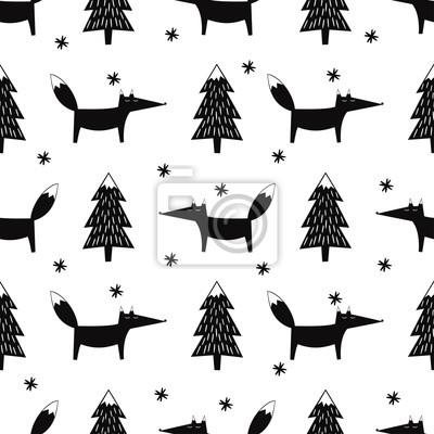 Fototapete Cute Fox, Weihnachten Baum und Schneeflocke nahtlose Muster. Schwarz-Weiß-Wald-Hintergrund. Einfache Vektor Winterurlaub Design für Textil-, Tapeten, Geschenkpapier, Stoff, Dekor.