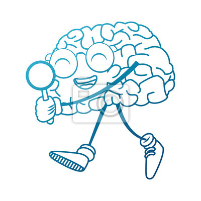 Fototapete Cute Gehirn Suche etwas Symbol Vektor-Illustration Grafik-Design