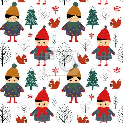 Fototapete Cute Jungen und Mädchen zu Fuß im Winter Wald nahtlose Muster auf weißem Hintergrund. Weihnachten skandinavischen Stil Natur Illustration. Winter Wald mit Kindern Design für Textilien, Tapeten, Stoff.