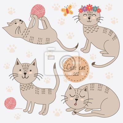 Cute Katzen in verschiedenen Posen isoliert auf weißem Hintergrund. Abbildung