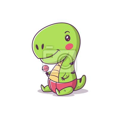 Fototapete Cute Kawaii Baby Tyrannosaurus Rex Little T Cartoon Vector Illustration