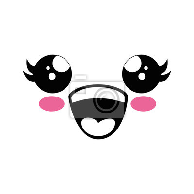 Fototapete Cute Kawaii Cartoon Gesicht Symbol Vektor Illustration Grafik Design