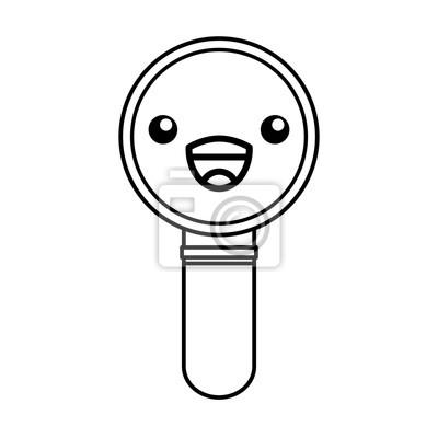 Fototapete Cute Kawaii Line Icon Lupe Cartoon