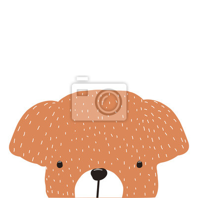 Fototapete Cute kids print with little puppy. Vector hand drawn illustration.
