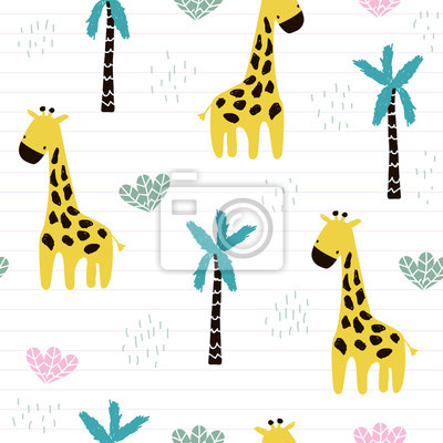 Fototapete Cute kids seamless pattern with giraffe and palm tree. Fashion nursery print. Vector hand drawn illustration.