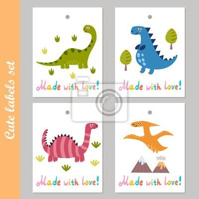 Cute Labels mit lustigen Dinosauriern gesetzt