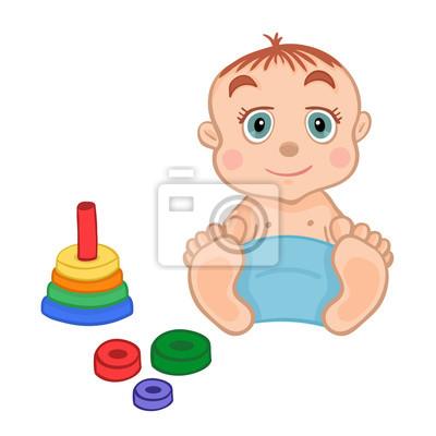 Cute little boy spielt mit einem Pyramide Spielzeug