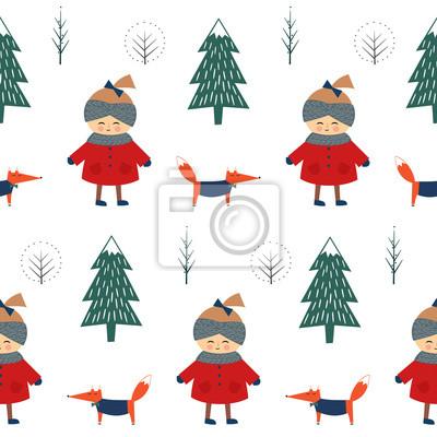 Fototapete Cute Mädchen mit Fuchs zu Fuß im Winter Wald nahtlose Muster auf weißem Hintergrund. Weihnachten skandinavischen Stil Natur Illustration. Winterwald mit Baby-Design für Textil-, Tapeten, Stoff.