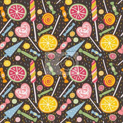 Cute nahtlose Muster mit Lutscher und Süßigkeiten