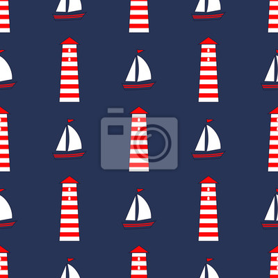 Fototapete Cute nautical background. Navy vector seamless sea pattern: sailboat, lighthouse. Marine life Background Collection. Baby shower vector illustration.